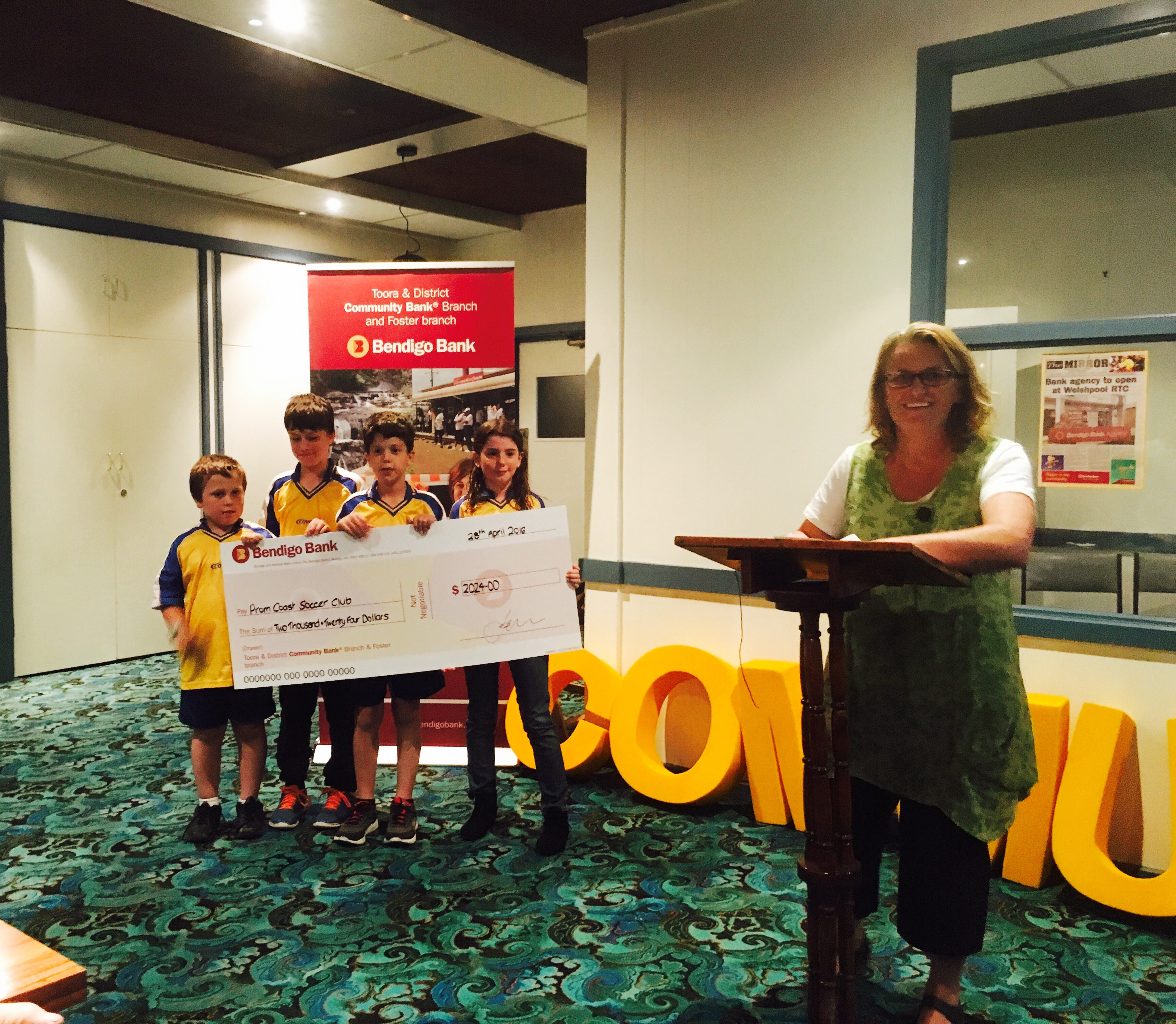 Congratulations to the Prom Coast Soccer Club on receiving a grant from the Bendigo Bank to go towards a new set of goals for the club