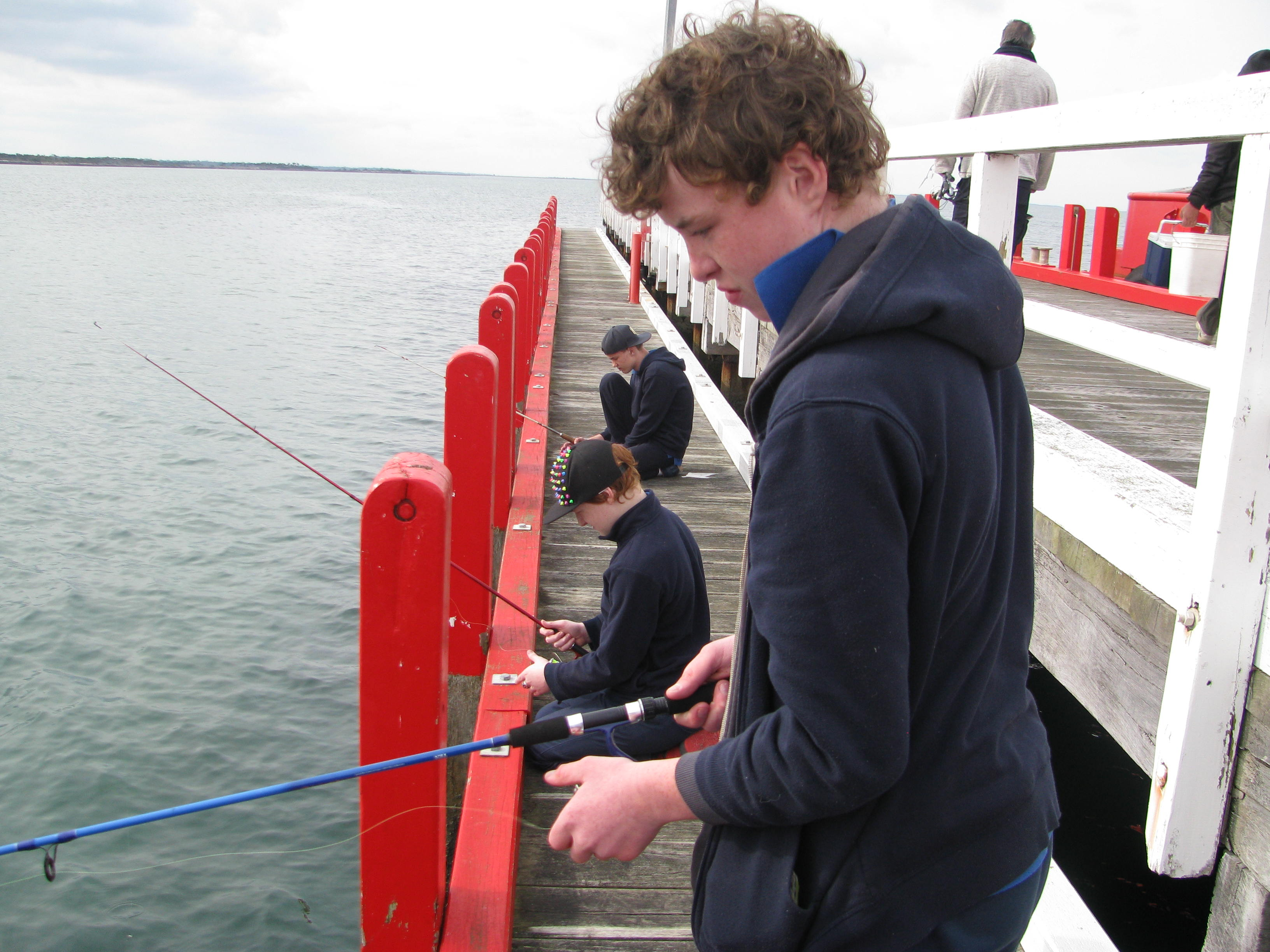 Students from the South Gippsland Special School trying their luck at fishing off the Port Welshpool jetty