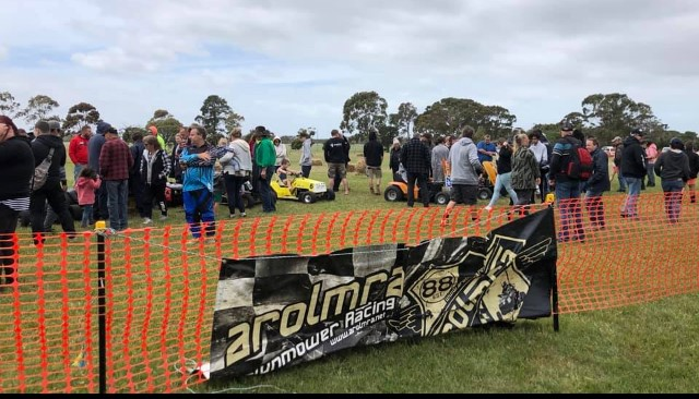 Crowds in amongst the mowers on Race Day 2019
