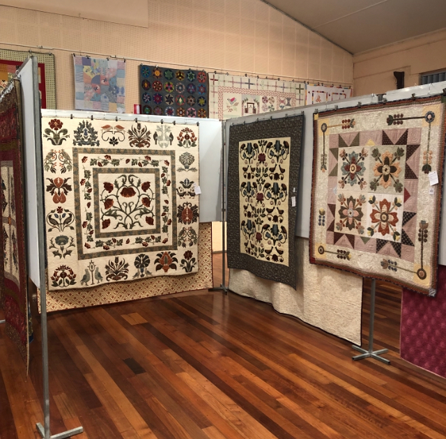 The Welshpool Memorial Hall was a feast for the eyes with a beautiful display of colourful quilts.